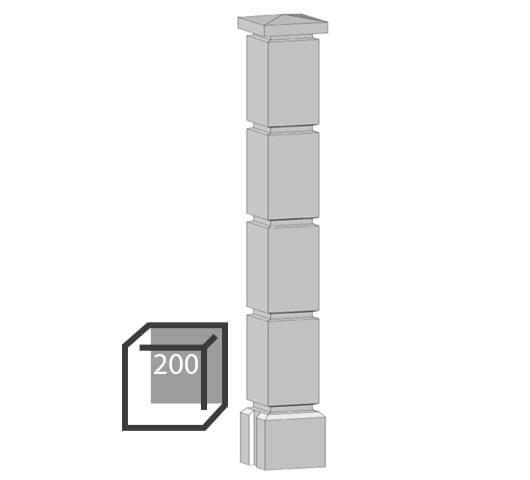 Бетонный столбик «кубик» 200х200 мм воротный, калиточный
