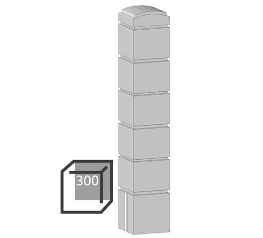 Бетонный столбик «кубик» 300х300 мм воротный, калиточный