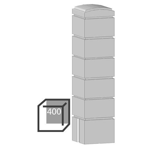 Бетонный столбик «кубик» 400х400 мм воротный, калиточный